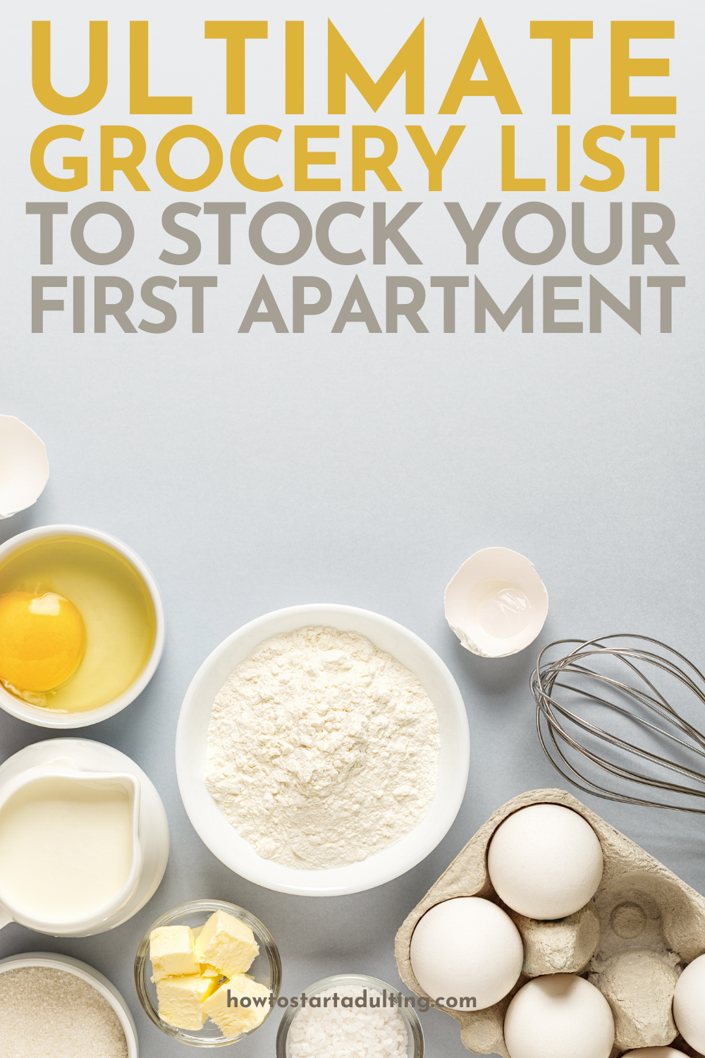 Ultimate Grocery List To Stock Your Pantry And Fridge For Your First Place, Groceries for First apartment kitchen #groceryshopping #groceries #firstplace #firstapartment #grocerylist #adulting